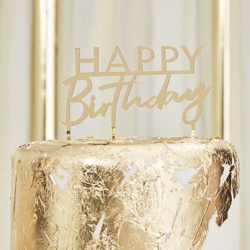 Cake Topper Acrylic - Happy Birthday Gold