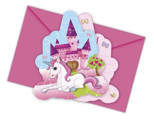 Einladungskarten mit Umschlag - Einhorn