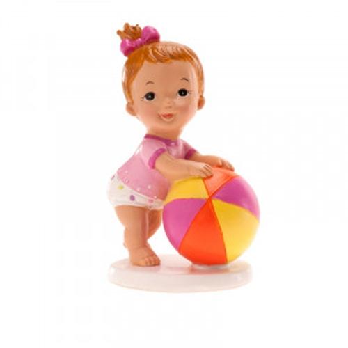 Dekorative Tortenfigur Mädchen mit Ball - Rosa
