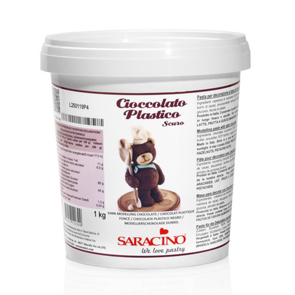 Saracino Cioccolato Plastico - Modellieschokolade Dark 1 Kg