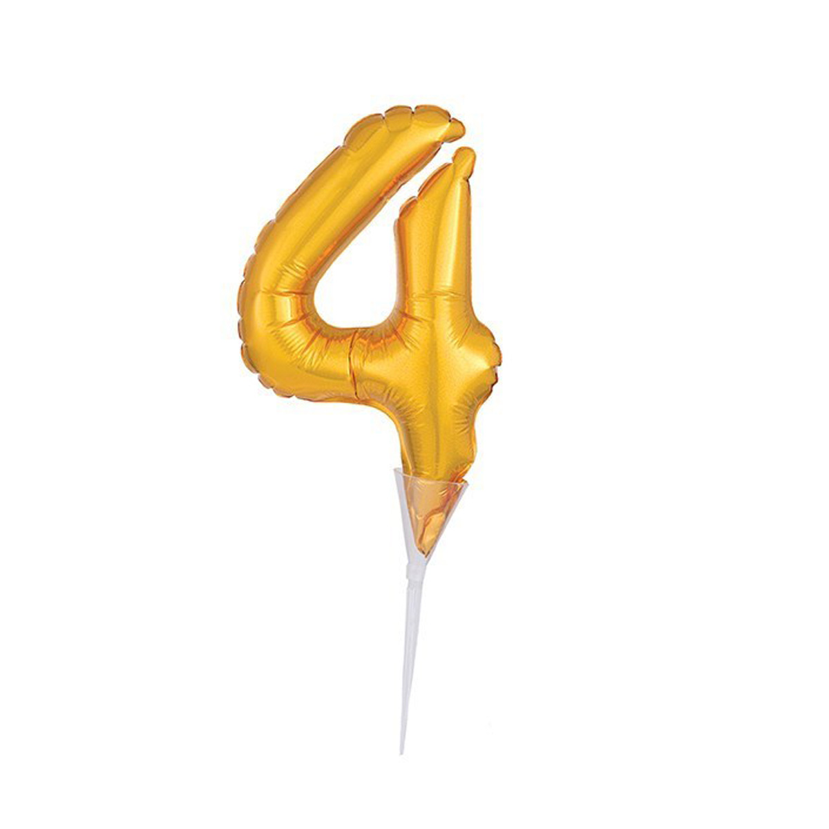 Cake Topper Luftballon Zahlenballon Gold - Zahl 4