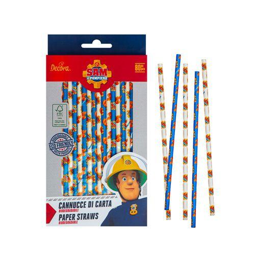 Decora Paper Straws - Strohhalme Feuerwehrmann Sam 80 Stück