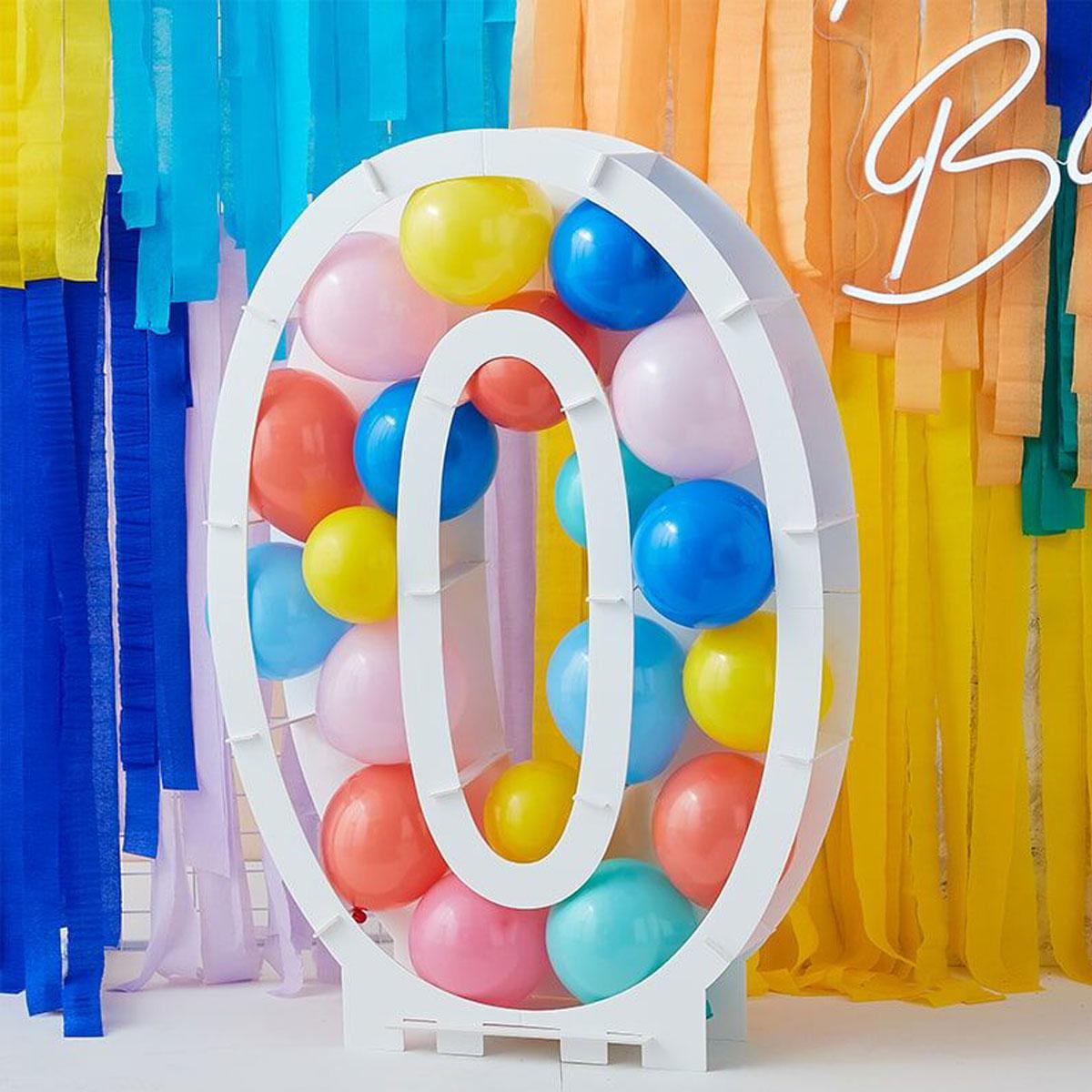 Zahlenständer mit Luftballons Nr.0 - Bunt