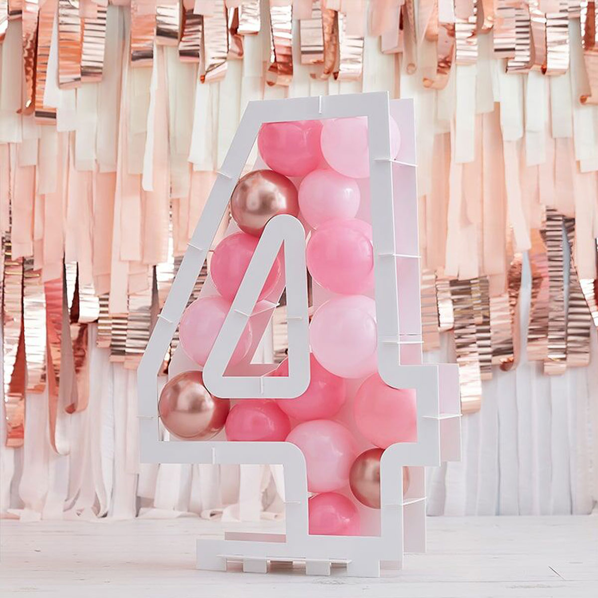 Zahlenständer mit Luftballons Nr.4 - Rose Gold