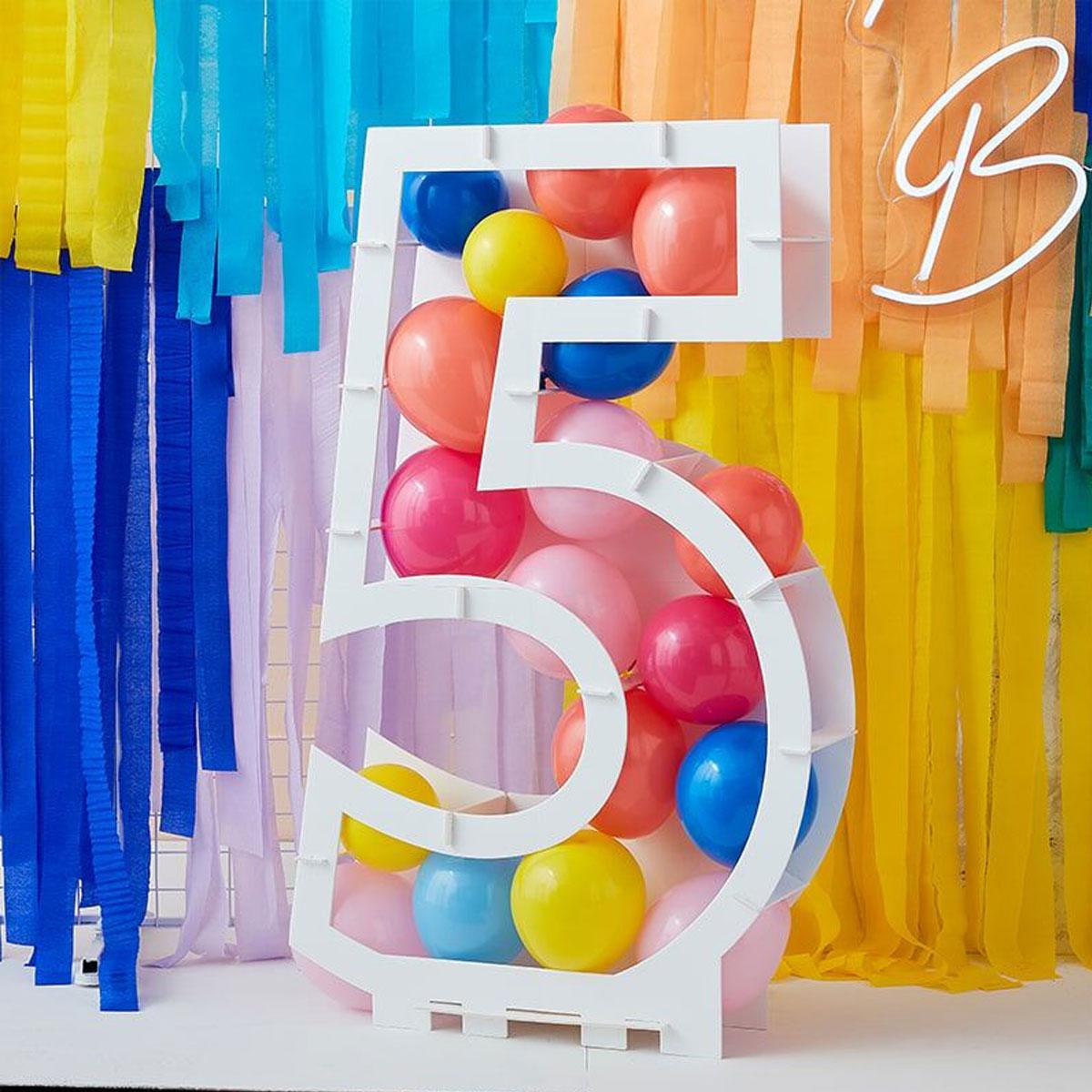 Zahlenständer mit Luftballons Nr.5 - Bunt