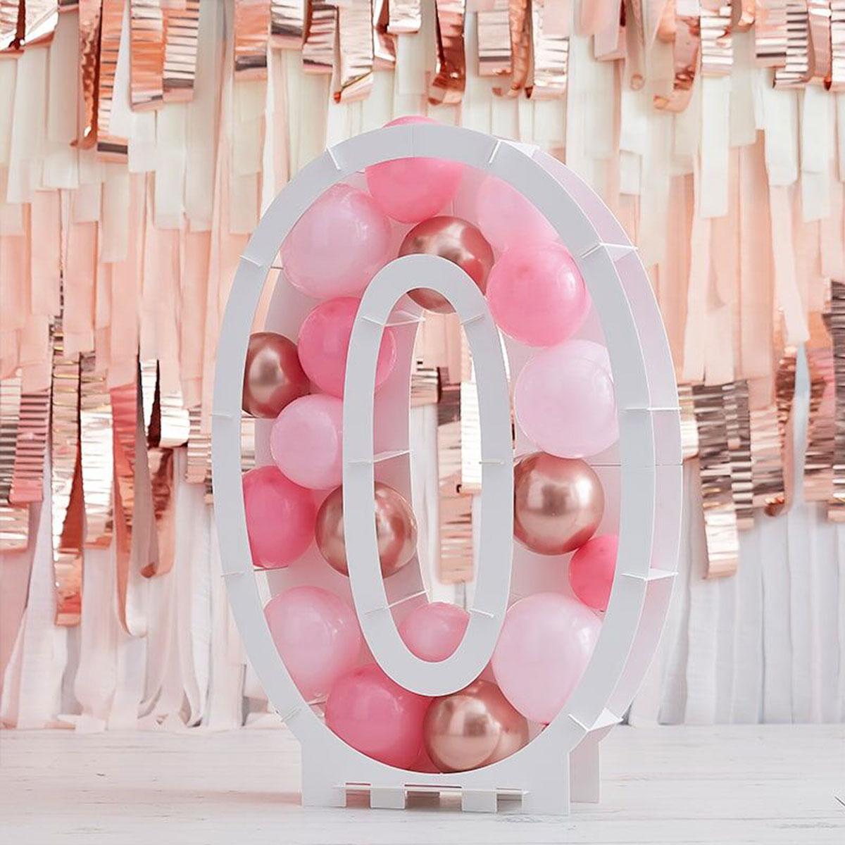 Zahlenständer mit Luftballons Nr.0 - Rose Gold