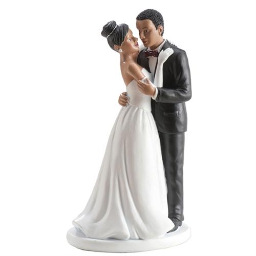 Dekorative Tortenfigur Hochzeitspaar - Dunkelhäutig 16cm