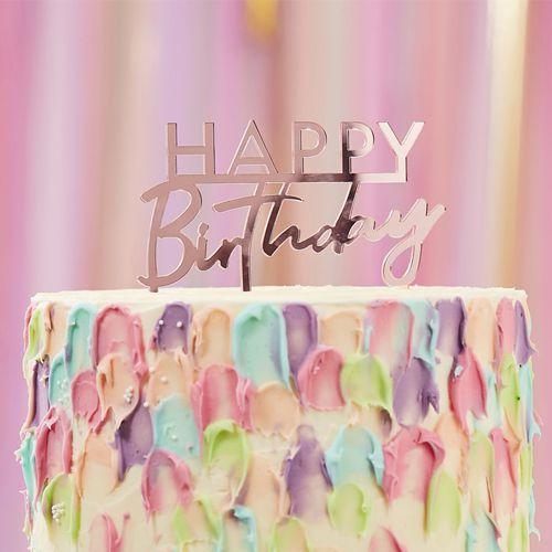 Cake Topper Acrylic - Happy Birthday Rose