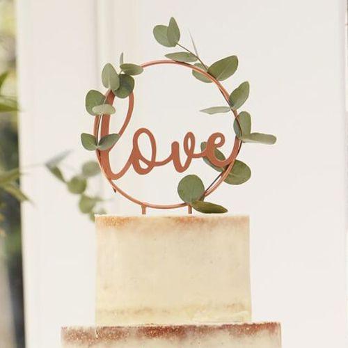 Ginger Ray Metall Cake Topper - Love - Kupfer