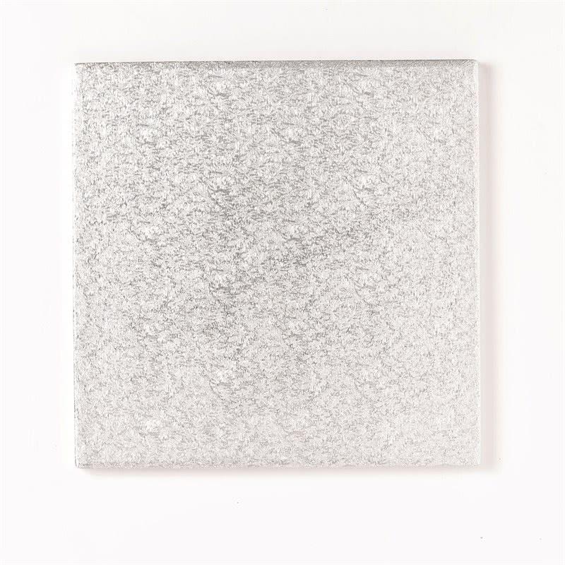 """Cake board 9"""" 22,5cm Quadrat Silber- 1cm dick"""
