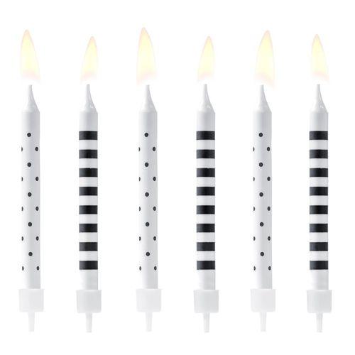 PartyDeco Kerzen Schwarz/weiß 6 Stück