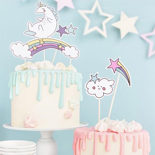 PartyDeco Cake Topper - Einhorn Set 5 teilig