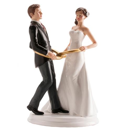 Dekorative Tortenfigur Hochzeitspaar mit Ringe 20cm