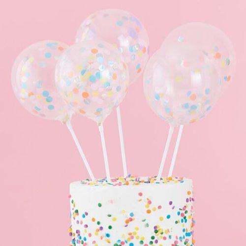 Cake Topper Mini Ballons mit Konfetti gefüllt - 5 Stück