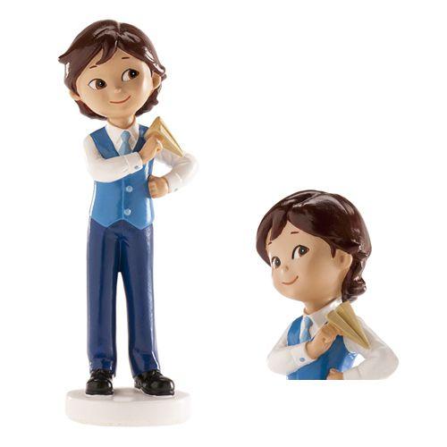 Dekorative Tortenfigur - Kommunion Junge mit Papierflieger
