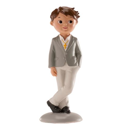 Dekorative Tortenfigur - Kommunion Junge in grauem Anzug