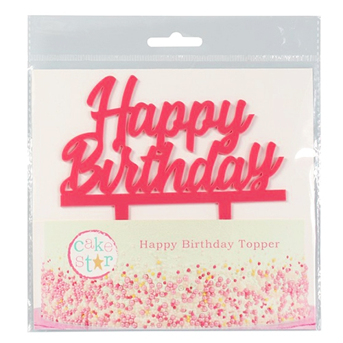 Cake Star Cake Topper - Happy Birthday Pink