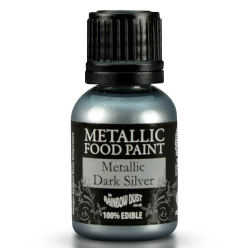 RD Edible Food Paints – Metallic Dark Silver