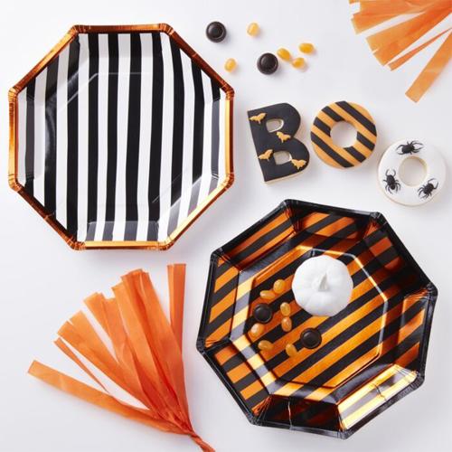 Ginger Ray Halloween Pappteller - Weiß/Schwarz/Orange