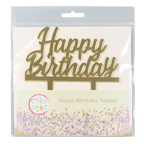 Cake Star Cake Topper - Happy Birthday Gold