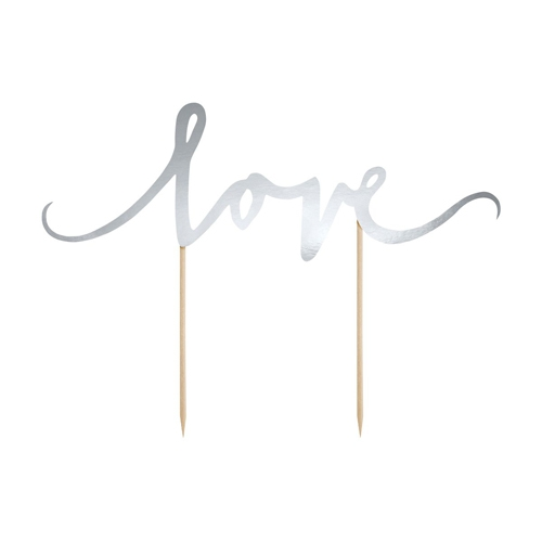 PartyDeco Cake Topper Love - Silber