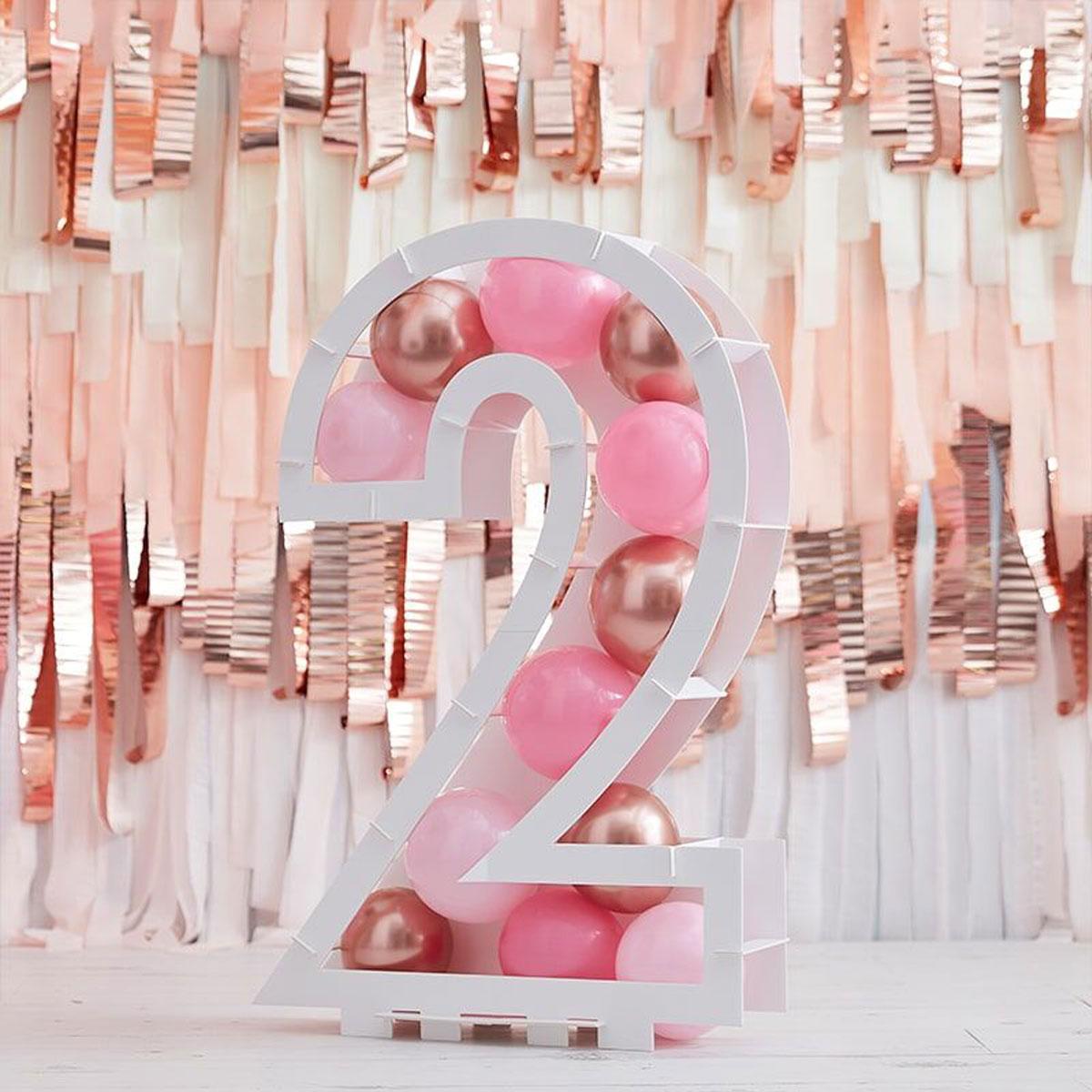 Zahlenständer mit Luftballons Nr.2 - Rose Gold