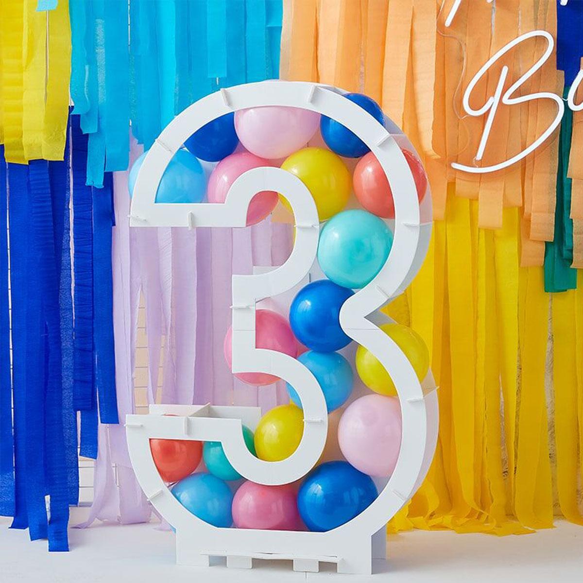 Zahlenständer mit Luftballons Nr.3 - Bunt