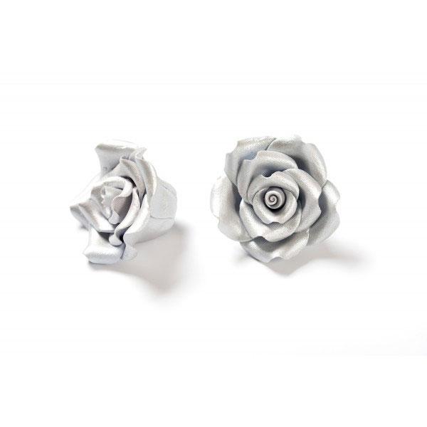 Decora Zuckerrosen 6 Stück 5cm - Silber