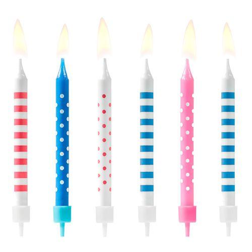 PartyDeco Kerzen Punkte & Streifen Blau/Rosa 6 Stück