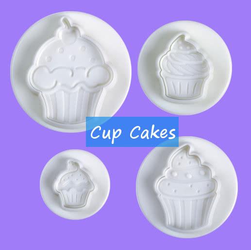 Ausstecher mit Auswerfer und Prägung Cup Cakes 4tlg