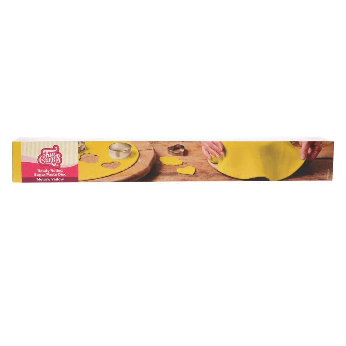 Funcakes ausgerollte Fondantdecke - Gelb 36cm