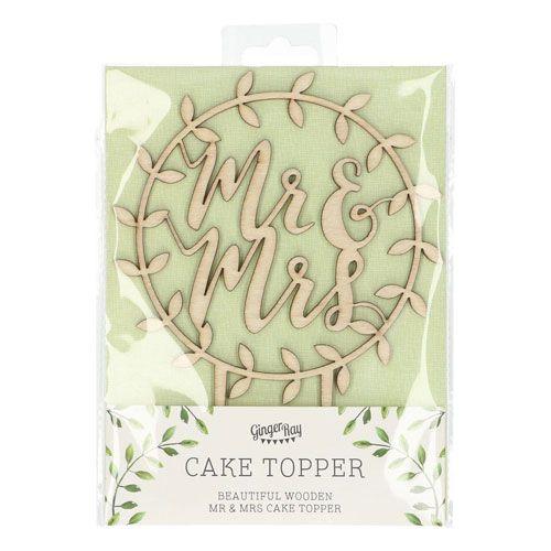 Ginger Ray Holz Cake Topper - Mr. & Mrs. - Beautiful Botanics