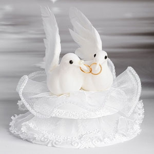 Decorative Tortenfigur Hochzeit - Tauben mit Ringe