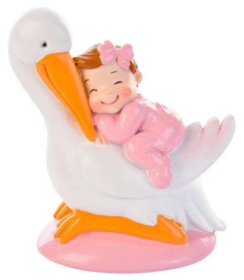Decorative Tortenfigur Baby auf Storch - Mädchen