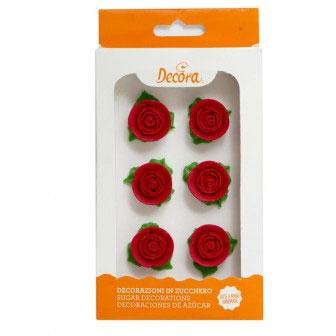Decora Zuckerrosen mit Blätter - Rot 6 Stück