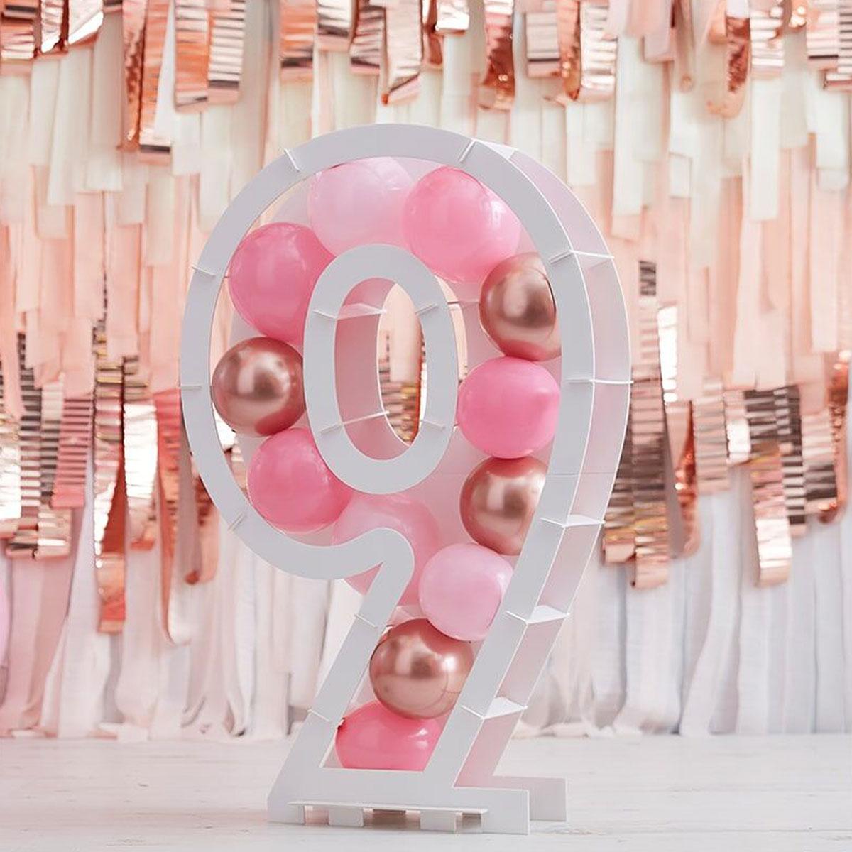 Zahlenständer mit Luftballons Nr.9 - Rose Gold