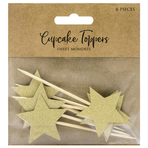 PartyDeco Cupcake Topper Sterne - Gold
