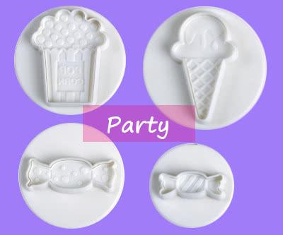 Ausstecher mit Auswerfer und Prägung Party Sweets 4tlg
