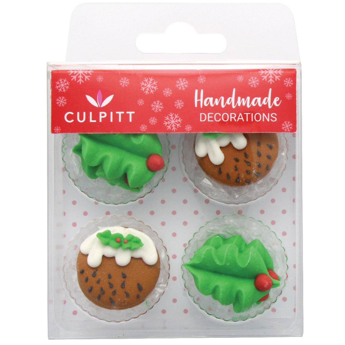 Culpitt Zuckerdeko Christmas Pudding & Holly
