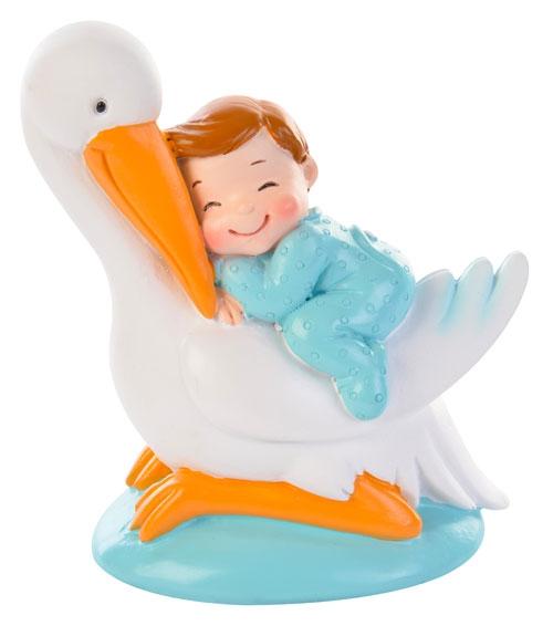 Decorative Tortenfigur Baby auf Storch - Junge