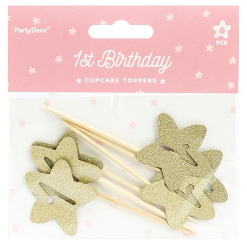 PartyDeco Cupcake Topper Sterne - 1 Geburtstag Gold