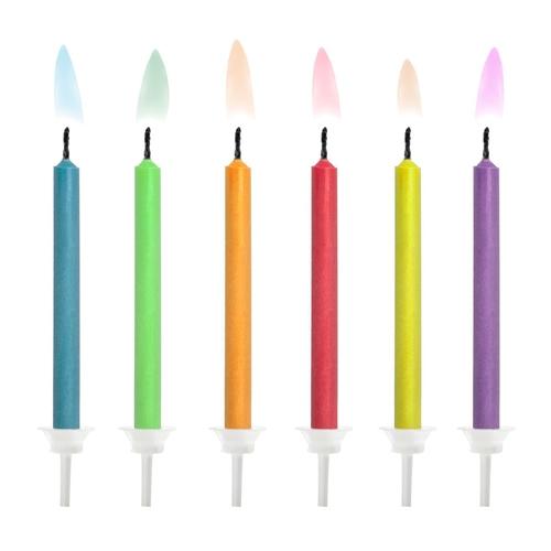 PartyDeco Kerzen Farbige Flammen 6 Stück