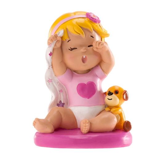 Dekorative Tortenfigur Baby mit Schmusetuch - Mädchen