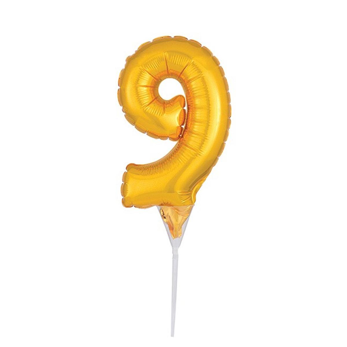 Cake Topper Luftballon Zahlenballon Gold - Zahl 9