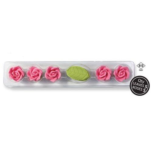 PME Zuckerrosen & Blätter - Pink
