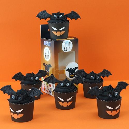 MHD 25/7/21 Cupkits Halloween - Cupcake Decorationsset Fledermaus
