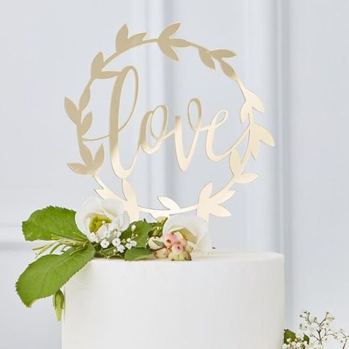 Ginger Ray Acryl Cake Topper - Love - Gold