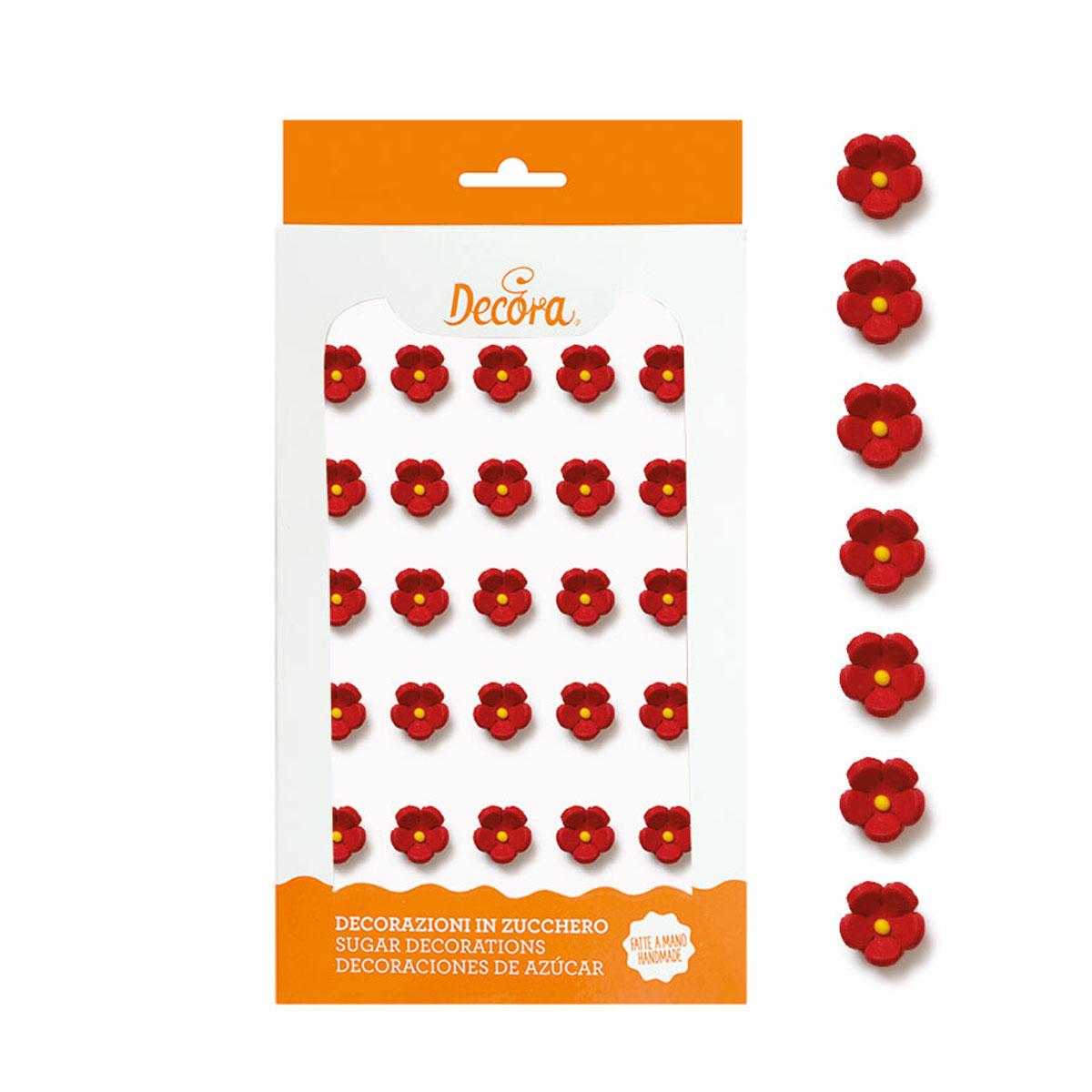 Decora Zuckerdeko - Blümchen rot 30 Stück