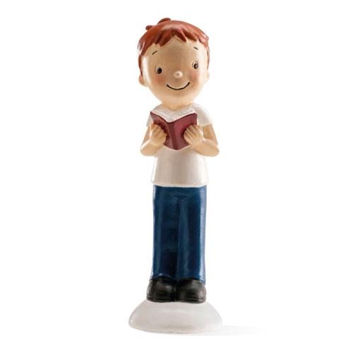 Dekorative Tortenfigur - Kommunion Junge mit Buch