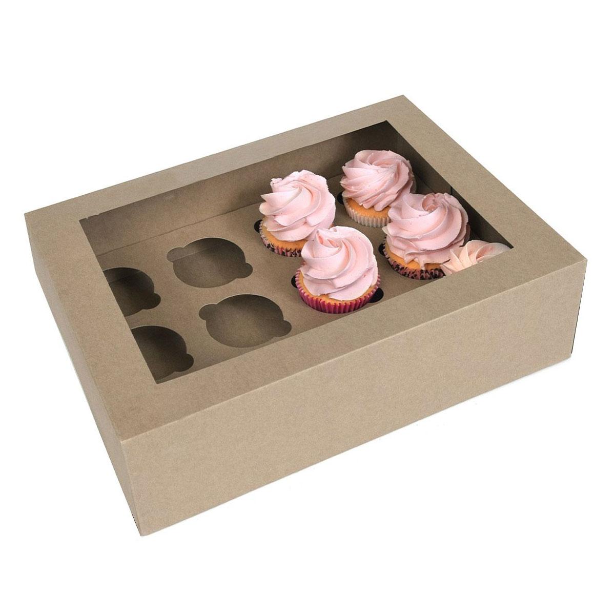 House of Marie Cupcake Schachtel 12 - Kraft pk/2
